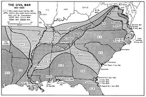 A map of the U.S. South showing shrinking territory under rebel control.