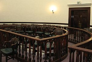 Empty jury box in an American courtroom