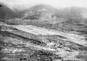 Panoramic view of a cleared strip of land surrounded by thick scrub and jungle. Behind the cleared strip the ground rises steeply