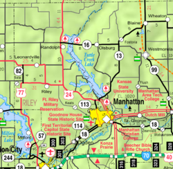 KDOT map of Riley County (legend)