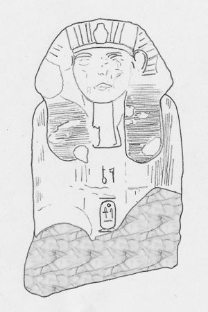 Drawing of a sphinx of Mentuhotepi, bearing the prenomen Seankhenre between the legs[1]