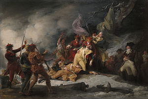 A highly idealized depiction of Montgomery's death.  Montgomery's body lies in the snow along with a few others, and he is surrounded by his officers, including men in army uniforms and in hunting garb.  A cannon lies broken in the foreground, and snow and gunsmoke swirl around the scene.  An Indian stands nearby with a raised tomahawk.