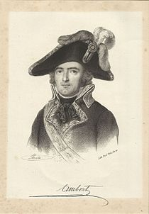Signed sketch of a man with a dimpled chin in a large bicorne hat. He wears a dark late 18th century military uniform coat trimmed with gold lace.