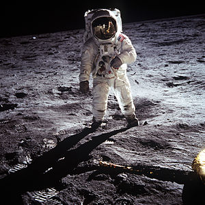 Astronaut Buzz Aldrin stands on the Moon