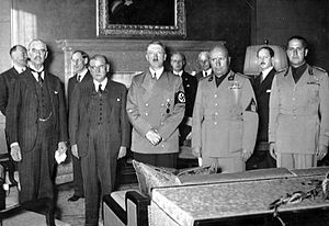Chamberlain, Daladier, Hitler, Mussolini, and Italian Foreign Minister Count Ciano, as they prepared to sign the Munich Agreement