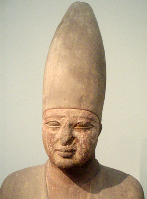 Osiride statue of the 11th dynasty pharaoh Mentuhotep III, on display at the Museum of Fine Arts, Boston.