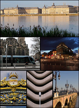 Clockwise from top: Place de la Bourse by the Garonne, Allees du Tourny and Maison de Vin, Pierre Bridge on the Garonne, Meriadeck Commercial Centre, front of Palais Rohan Hotel, and Saint-Andre Cathedral with Bordeaux Tramway