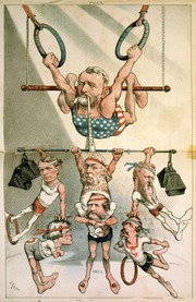 Grant, shown in a cartoon as an acrobat hanging from rings, holding up multiple politician/acrobats