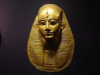 Grave mask of pharaoh Amenemope in the Cairo Museum