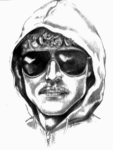 A pencil sketch of a man wearing a hood and sunglasses, with a mustache.