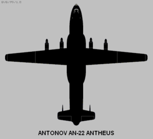 Dorsally projected diagram of the Antonov An-22 Antheus.