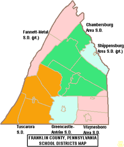 Map of Franklin County Pennsylvania School Districts.png