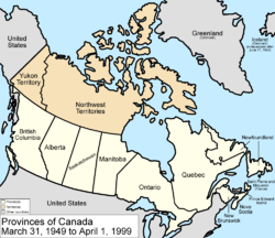 Map of the country of Canada on March 31, 1949, showing the new province Newfoundland and Labrador along with Manitoba, Ontario, Prince Edward Island, Quebec, New Brunswick, British Columbia, Alberta, Saskatchewan and Nova Scotia, in the colour white. Ontario expands west to the Lake of the Woods and north to the Albany River. Provinces are coloured white. The Northwest Territories and the Yukon Territory are depicted in the colour pink. The area called Alaska is depicted in bluish grey colour, and is not a part of Canada.