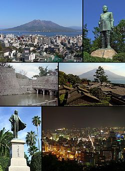 From top left: Kagoshima with Sakurajima in background, Statue of Saigō Takamori, Kagoshima Castle, Sengan-en, Statue of Ōkubo Toshimichi, Night view from Mt. Shiroyama