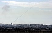 A rocket fired from a civilian area in Gaza towards civilian areas in Southern Israel