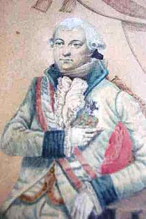 Detail from a painting shows a calm-looking man from head to the top of his thighs. On his head he has a late 18th century-style white wig with the hair curled over the ears. He wears a white military uniform with navy blue lapels and cuffs with a red and white sash across his shoulder.