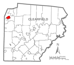 Map showing DuBois in Clearfield County