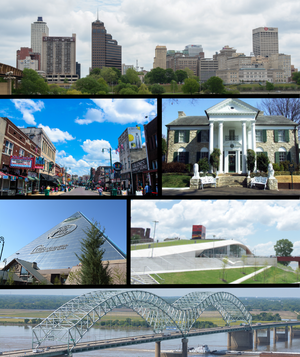 From top to bottom and left to right: Downtown Memphis skyline, Beale Street, Graceland, Memphis Pyramid, Beale Street Landing, and the Hernando de Soto Bridge