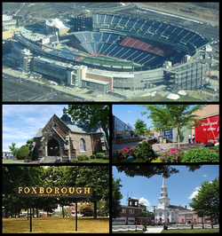 Gillette Stadium, Memorial Hall, Patriot Place, sign in Foxborough, Congregational Church and the Orpheum Theatre