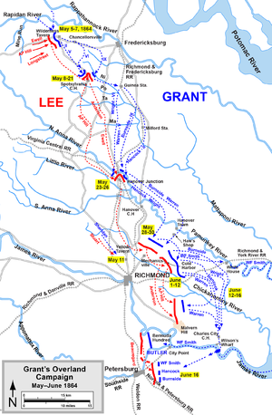 A map of the 1864 Overland Campaign, including the location of the Battle of Yellow Tavern