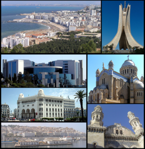 Clockwise: Buildings along the Mediterranean coast of Algiers, Martyrs Memorial, Notre Dame d'Afrique, Ketchaoua Mosque, Casbah, the Grand Post Office and the Ministry of Finance of Algeria