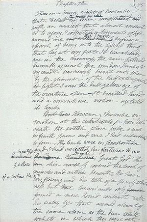 Handwritten manuscript of Frankenstein.