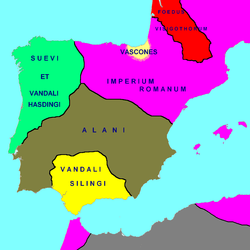 Areas allotted to or claimed by barbarian groups in 416–418