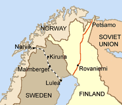 Drawing shows the Allies had two roads to Finland; through Petsamo or through Narvik, Norway.
