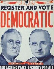 election poster from 1944 with Roosevelt and Truman