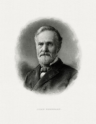 Bureau of Engraving and Printing portrait of Sherman as Secretary of the Treasury.