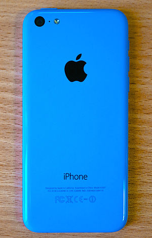 Rear side of blue iPhone 5c.
