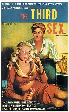 "A brightly painted book cover with the title ""The Third Sex"", showing a sultry blonde wearing a red outfit showing cleavage and midriff, seated on a sofa while a redhead with short hair places her hand on the blonde's shoulder and leans over her, also displaying cleavage by wearing a white blouse with rolled-up sleeves"
