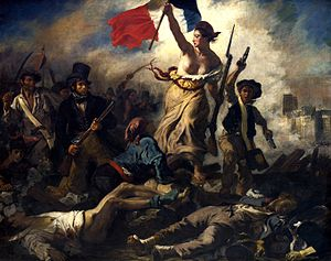 Men with guns being led by a half-naked woman who is holding the French flag. She and they are walking over dead bodies. The painting is structured like a triangle, with the woman at the apex. The dead are lying at the base of the triangle.
