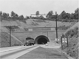 Highway tunnel, with one lane in each direction