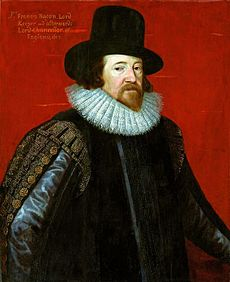 Engraved head-and-shoulders portrait of Francis Bacon wearing a hat and ruff.