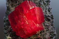 Intense, transparent, strawberry red crystals of rhodochrosite from Colorado's Sweet Home mine.