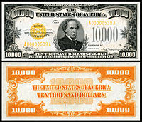 $10,000 Gold Certificate, Series 1934, Fr.2412, depicting Salmon P. Chase.