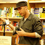 Arndt in 2007, speaking at Cody's Books about Little Miss Sunshine.