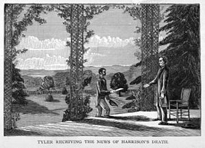 "An illustration: Tyler stands on his porch in Virginia, approached by a man with an envelope. Caption reads ""Tyler receiving the news of Harrison's death."""