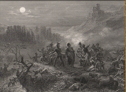 A black and white lithograph of a battle scene in which several men stand on a cliff, looking at a piece of paper. In the intermediate ground, several small boats carry soldiers. In the distance, steep mountains surround a small village on three sides, and a moon shines through the clouds.