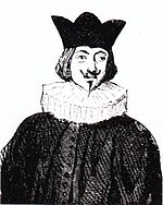Sketch of man wearing a crown and a white, ruffled collar