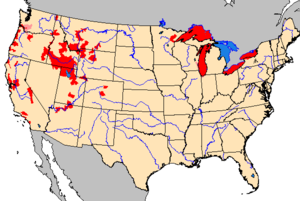 Map of U.S. distribution of New Zealand mud snail