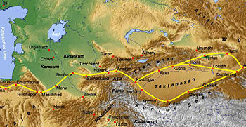 Tian Shan with the ancient silk road