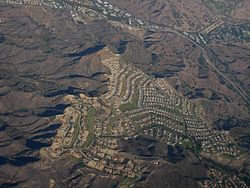 Aerial view of Calabasas, near the intersection of Las Virgenes and U.S. Highway 101