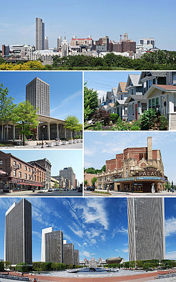 "A medley of different scenes to represent the diversity of the city. At top is a photo of the city's skyline, juxtaposing modern towers from the 1960s with older buildings dating back to the 19th century. Above center, right shows cookie-cutter, single-family houses, all two-stories with porches. Below center, right shows the marquee of a buff- and red-brick theater; marquee reads ""PALACE"". Bottom is a panoramic view of an open courtyard split by reflecting pools and surrounded by four modern, glass and concrete towers on left and one taller tower on right; in center is a Romanesque, granite, five-story capitol building. Below center, left shows a city street populated with old brick buildings. Above center, left shows a modern, glass and concrete tower surrounded by a shorter building of the same style."