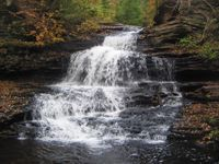 alt text = Water cascades over many thin layers of rock; the falls is much wider at the base than the top. It is autumn and bright yellow leaves appear in the trees over the falls. Fallen leaves are visible on the rocks.