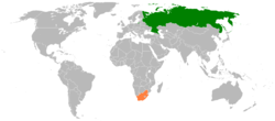 Map indicating locations of Russia and South Africa