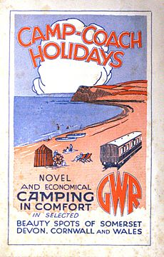 "A stylised painting of a coast line in red and blue with the sea on the left and a railway coach on the right. At the top is the title ""Camp-Coach Holidays"", and at the bottom it says Novel and economical camping in comfort in selected beauty spots of Somerset, Devon, Cornwall and Wales""."""