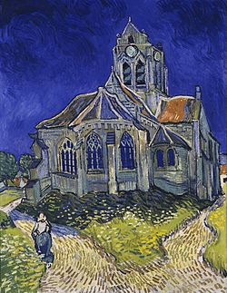 Vincent van Gogh painting 'The Church at Auvers from 1890 gray church against blue sky