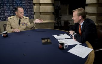 Chairman of the Joint Chiefs of Staff Navy Adm. Mike Mullen gives an interview to John Dickerson during the CBS news program Face the Nation in Washington, D.C., July 5, 2009 090705-N-TT977-156.jpg